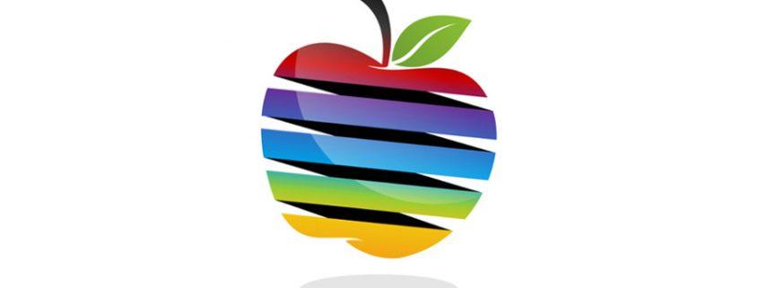 Apple in rainbow colours