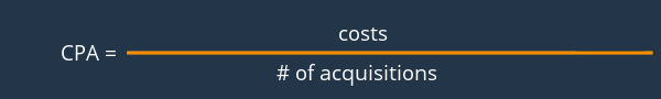 Cost Per Acquisition: costs / # of acquisitions