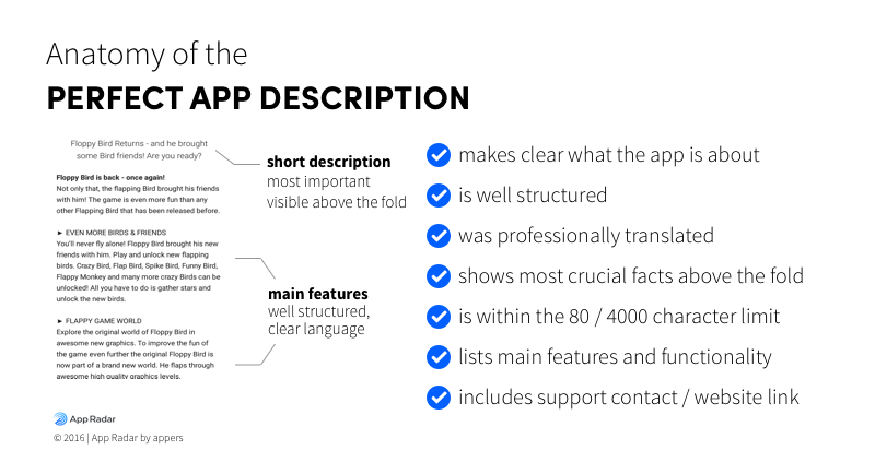A checklist for the perfect app description if you think off app store optimization