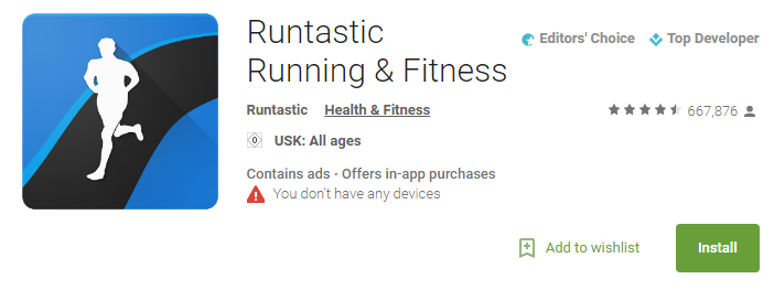 The icon and head-title of the app Runtastic: Running & Fitness