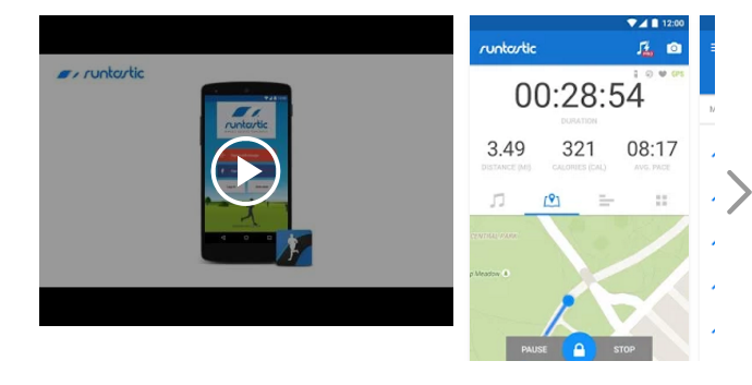 The presentation of screenshots and video of Runtastic in the app store.