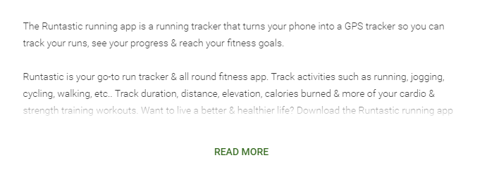 The description of the app runtastic