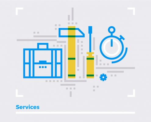 Blue line illustration concept of repair services, business support and maintenance project